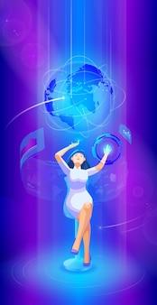 Geschäftsfrau-bedienoberfläche im futuristischen innenraum des virtuellen raumes ultraviolett