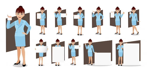 Geschäftsfrau cartoon zeichensatz.