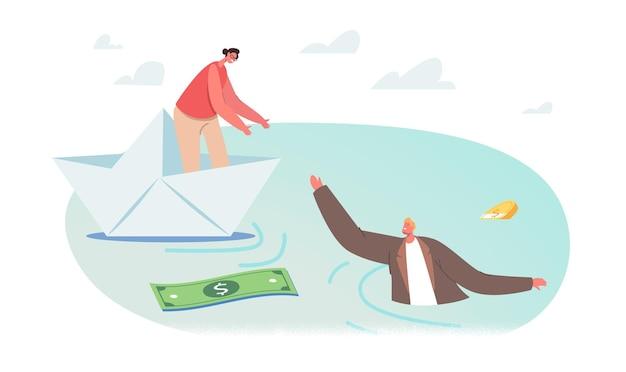 Geschäftsfrau-charakter auf papierschiff, das dem sinkenden geschäftsmann im wasser die hand gibt, mit streudollar-banknoten und -münzen