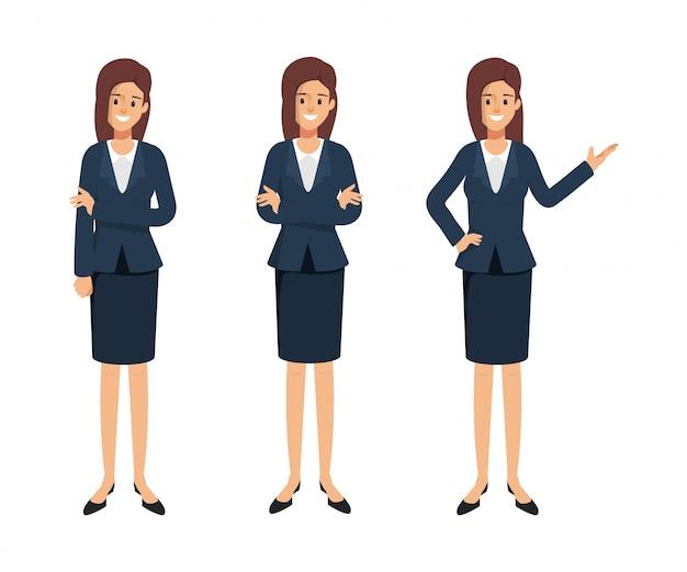 Geschäftsfrau charakter darstellen. frau im uniformanzug.