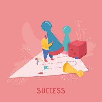 Geschäftsfrau charakter, der würfel spielt. geschäftsplanung, risiko- und strategiekonzept. menschen frau, die brettspiel, erfolg, wettbewerb und führung spielt.