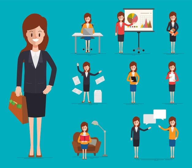 Geschäftsfrau charakter im job.