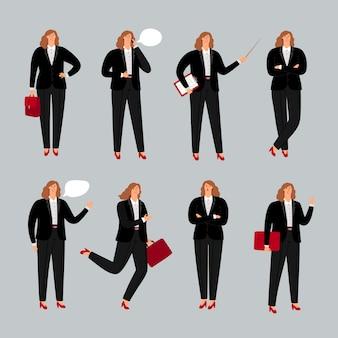 Geschäftsfrau charakter. junger weiblicher fachmann, geschäftsfraustellung, telefonisch benennend und zeigen haltungen