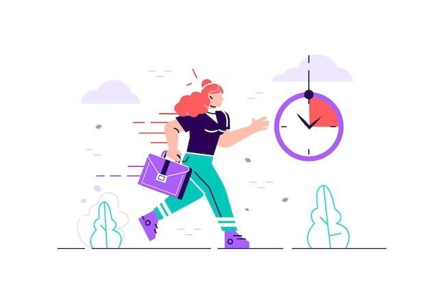 Geschäftsfrau charakter läuft mit zurück in brand. frist und hauptverkehrszeit. flache art moderne designillustration für webseite, karten, plakat, soziale medien.