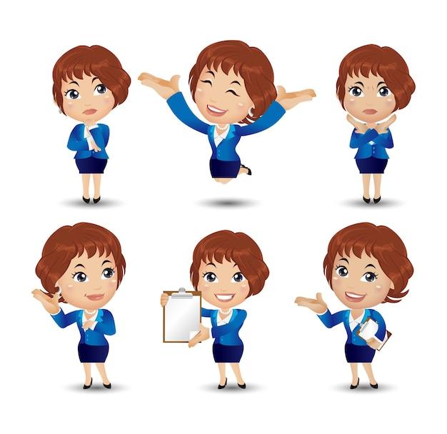 Geschäftsfrau charakter verschiedene posen und emotionen