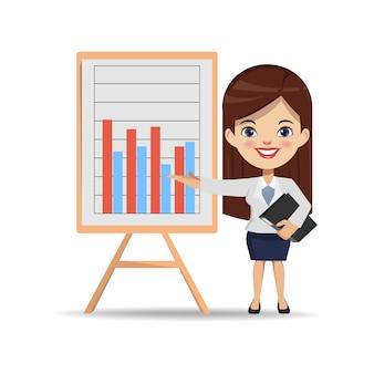 Geschäftsfrau chibi charakter zum darstellen eines geschäftsdiagramms an bord.