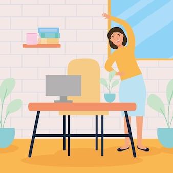 Geschäftsfrau, die aktive pausen im arbeitsbereich praktiziert