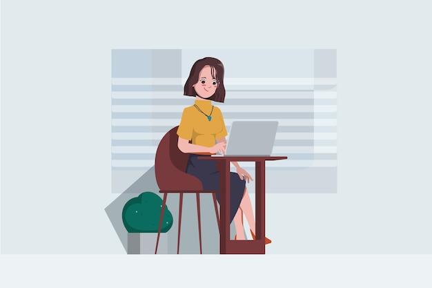 Geschäftsfrau, die am bürocharakter flaches design arbeitet. hintergrund des arbeitsbereichskonzepts.