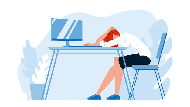 Geschäftsfrau, die am schreibtisch im büro schläft