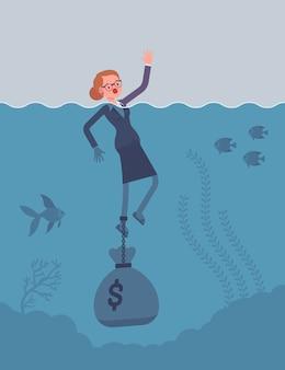 Geschäftsfrau, die angekettet mit einem dollarsack ertrinkt