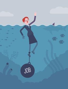 Geschäftsfrau, die angekettet mit einem gewicht job ertrinkt