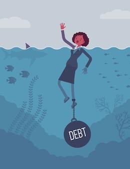 Geschäftsfrau, die angekettet mit einer gewichtsschuld ertrinkt