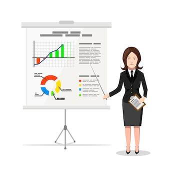 Geschäftsfrau, die auf das diagramm von finanzanalytik, flache illustration zeigt