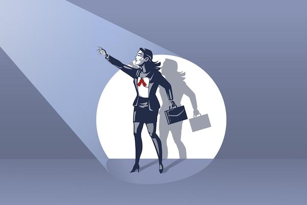 Geschäftsfrau, die auf der bühne steht und hand an die konzeptionelle illustration des blauen kragens des scheinwerfers winkt