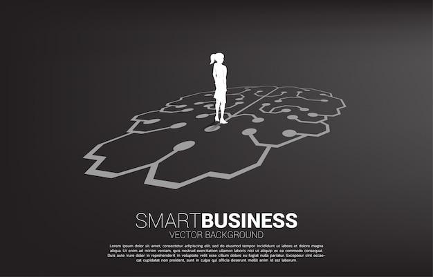 Geschäftsfrau, die auf gehirnikonengraphik auf boden steht. symbol für unternehmensplanung und strategie denken