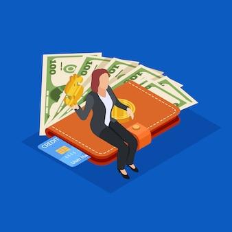 Geschäftsfrau, die auf geldbeutel mit geld und kreditkarte sitzt. geld sparen isometrische vektor-konzept