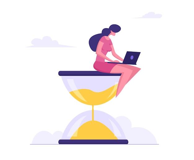 Geschäftsfrau, die auf sanduhr mit laptop in den händen flache illustration sitzt