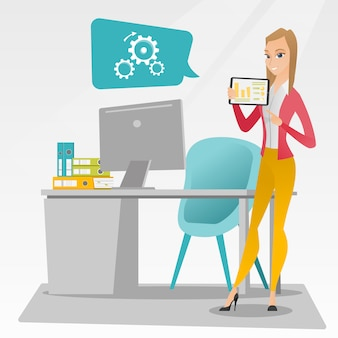Geschäftsfrau, die bericht über digitale tablette vorlegt.