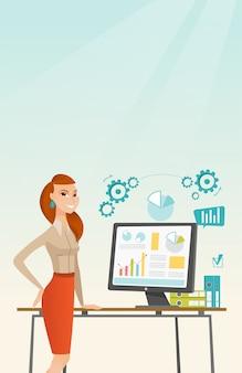 Geschäftsfrau, die darstellung auf computer bildet.