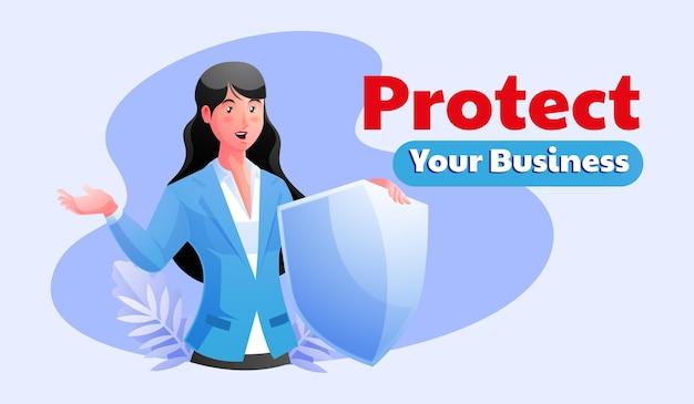 Geschäftsfrau, die das schildschutz-geschäftskonzept hält