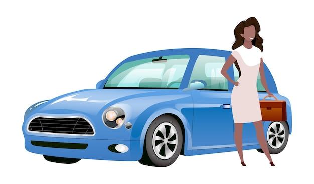 Geschäftsfrau, die durch flache designfarbe des gesichtslosen charakters des autos steht