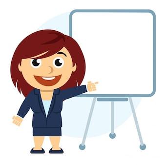 Geschäftsfrau, die ein diagramm auf dem board