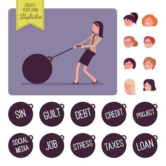 Geschäftsfrau, die ein riesiges schwergewicht auf kette schleppt