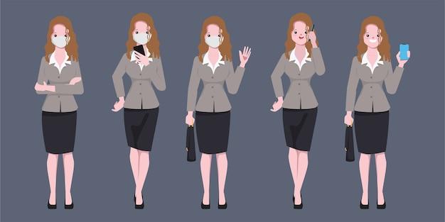 Geschäftsfrau, die eine gesichtsmaske im job und im neuen normalen lebensstil-zeichensatz trägt.