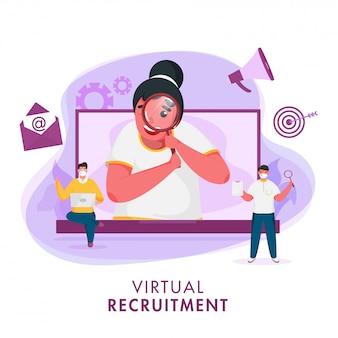 Geschäftsfrau, die einen jobkandidaten vom laptop und von den männern sucht, tragen schutzmaske auf abstraktem hintergrund für virtuelles rekrutierungskonzept.