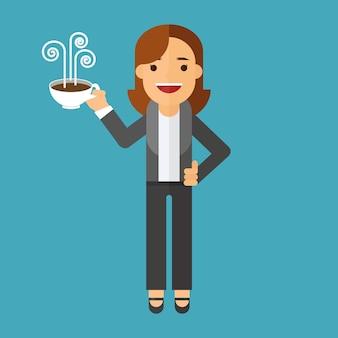 Geschäftsfrau, die einen tasse kaffee hält
