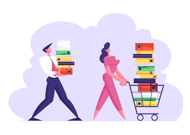 Geschäftsfrau, die einkaufswagen voller dokumentation schiebt
