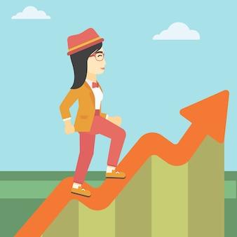 Geschäftsfrau, die entlang das wachstumsdiagramm läuft