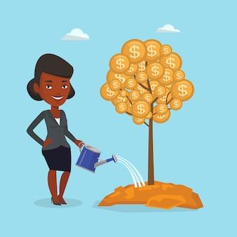 Geschäftsfrau, die finanzbaum wässert.