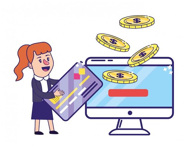Geschäftsfrau, die finanzplanung ein bankkonto hat