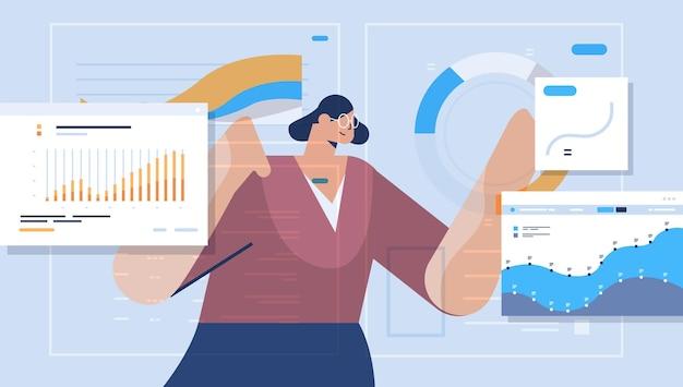 Geschäftsfrau, die finanzstatistikdiagramme und -graphen analysiert datenanalyseplanung unternehmensstrategiekonzept porträt horizontale vektorillustration