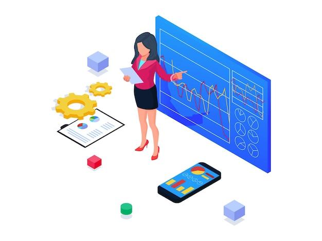 Geschäftsfrau, die fortschrittsdiagramm darstellt. isometrische geschäftsstartillustration.