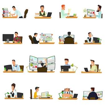 Geschäftsfrau, die für einen laptop arbeitet. leute, die am tisch sitzen und arbeiten.