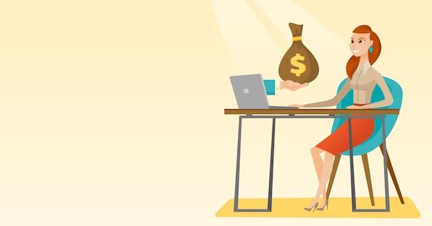 Geschäftsfrau, die geld vom online-geschäft verdient.