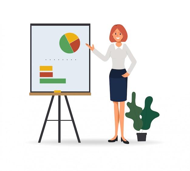 Geschäftsfrau, die geschäftsdiagramm auf whiteboard sich darstellt