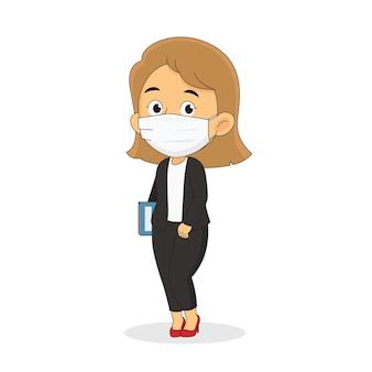 Geschäftsfrau, die gesichtsmaske trägt, schützen covid-19