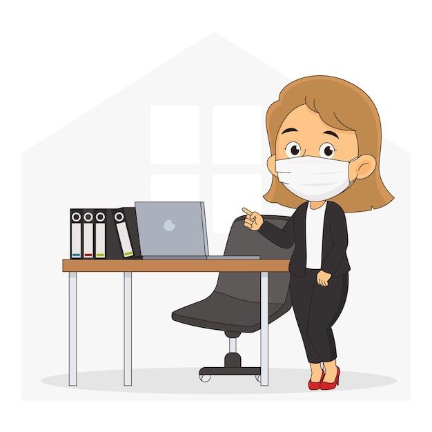Geschäftsfrau, die gesundheitsmaske in vorbereitung auf arbeit von zu hause trägt