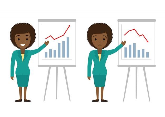 Geschäftsfrau, die grafiken zeigt. finanzieller erfolg, flache illustration des finanziellen verlustes.