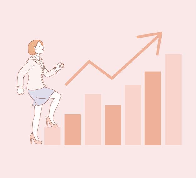 Geschäftsfrau, die graphendiagramm in der linienartillustration hinaufgeht