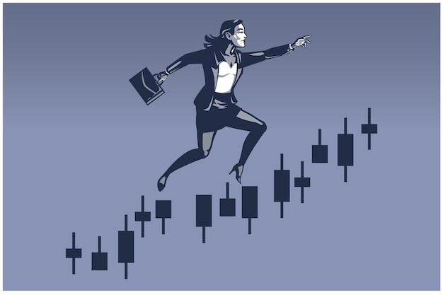 Geschäftsfrau, die großen sprung auf handelstabelleiste macht. geschäftsillustrationskonzept der finanzkarriereförderung