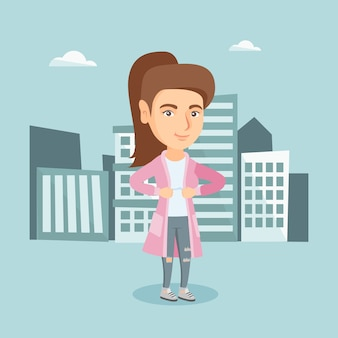 Geschäftsfrau, die ihre jacke wie superheld öffnet.