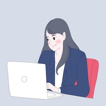 Geschäftsfrau, die illustration arbeitet