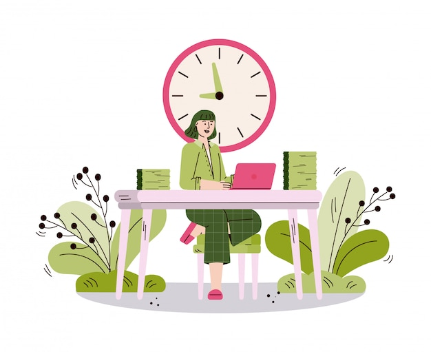 Geschäftsfrau, die im büro arbeitet, skizzieren karikaturillustration