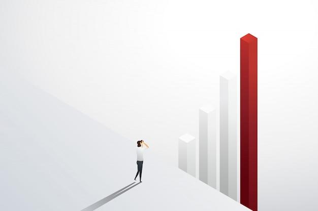 Geschäftsfrau, die im fernglas auf grafik für investitionsmöglichkeit und wachstum schaut. illustration