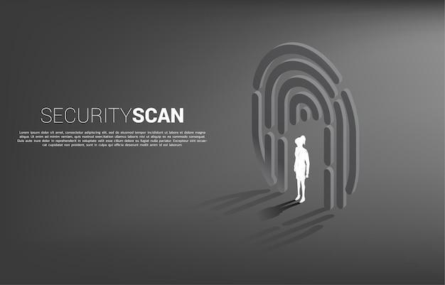 Geschäftsfrau, die im fingerscan-symbol steht. hintergrundkonzept für sicherheits- und datenschutztechnologie für identitätsdaten