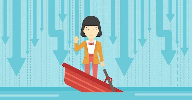 Geschäftsfrau, die in sinkendem boot steht